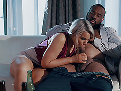 Long haired blonde MILF Gemma Parker rides a black dick after a party