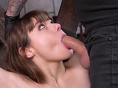 Teen babe Luna Rival ass fucked and fed cock in bondage