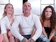 Slutty babes Victoria Voxxx and Riley Reyes share a dick in bondage