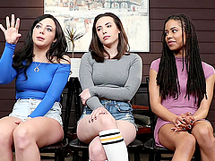 Lesbian interracial threesome with Casey Calvert and her friends