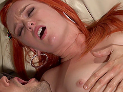 BLue eyed redhead seductress Dani Jensen wants her face cum glazed