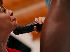 MILF bombshell slut Cherie Deville pounded by a black guy hardcore