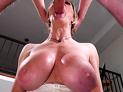 Busty mature pornstar Dee Williams deepthroats a fat dick POV
