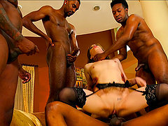 Slim girl Bobbi Dylan gets her holes fucked by black guys