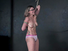 Gorgeous babe Red August got punished by a naughty stranger