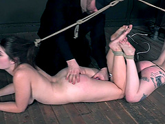 Anastasia Rose and another hottie got tied up on the floor