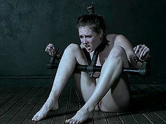 Tied up chick Ashley Lane got chained to the floor by a stranger