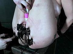 Sweet chick Red August gets tied up and tortured with toys