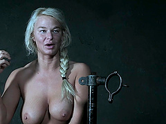 Blonde MILF London River in a painful BDSM bondage abuse session