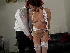 Cat Collar holds a vibrator on her clit while getting pounded hardcore