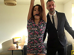 Submissive brunette slut Susy Blue ball gagged and fucked rough