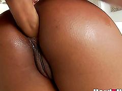 Perfect ebony babe rides a big fat white dick hardcore