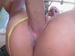 Nasty blonde bombshell stuffs her panties in mouth and gets ass fucked