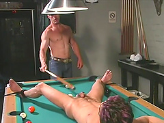 Teen gay dude tied up on a pool table and abused hardcore