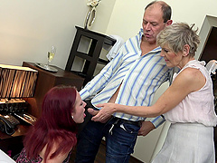 horny dude enjoys a threesome with a mature and a young girl