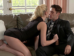 Blonde Kenna James gets her tiny cunt pleased on the couch