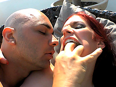 Mira Sunset gets talked into fucking with a friend outdoors