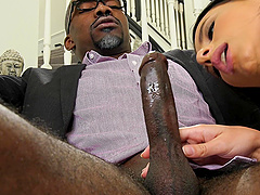 Brunette girl Nelly Kent makes a black cock disappear in her