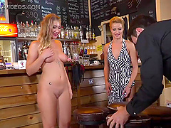 Beautiful blonde girl gets her wet pussy fucked in a bar