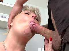 After hardcore sex blonde mature is on her knees waiting for a facial
