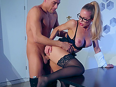 Professor look girl Nicole Aniston gets fucked by her boss on the table