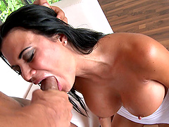 After oral sex oiled brunette is ready to jump on a friend's penis