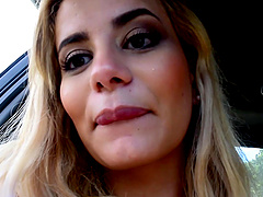 Sweet blonde gets her pussy fucked by a handsome dude in the car