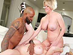 Black dude destroys Sara Jay's wet pussy during the threesome