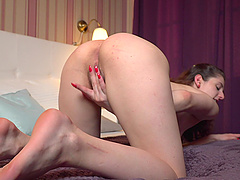 Hot girl Anita V masturbates using her fingers and a dirty mind