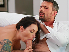 Provocative wife Ivy Lebelle in stockings and lingerie having sex