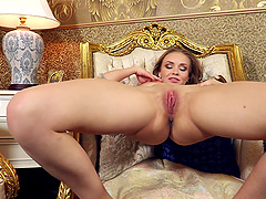 Sexy model Angel B pleasures her pink taco with her fingers