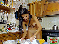 Home alone Denisse Gomez pleasures her cravings in the kitchen