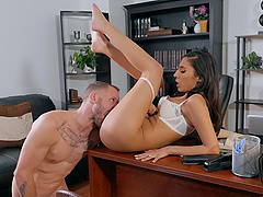 Incredible secretary Gianna Dior gives a sloppy blowjob and gets dicked