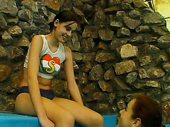 Two Horny Teens Reveal Their Lesbian Side At The Poolside