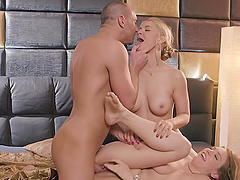 FFM threesome in the bedroom with Sarah Vandella and Giselle Palmer