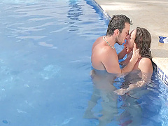 Passionate fucking in the pool ends with cum on ass for Martina Gold