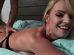 Late night fucking on the bed with gorgeous girlfriend Rachael Cavalli