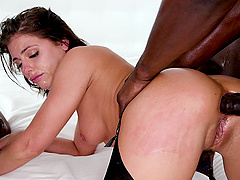 Brunette pornstar Adriana Chechik gets double penetrated by BBCs
