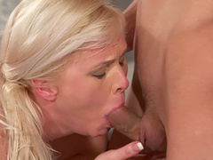 Seductive blonde model Kathy Anderson loves riding in reverse