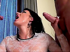 Freaky Brunette Takes Two Big Cocks Down Her Pussy