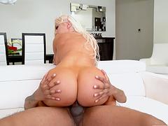 Tattooed MILF Brandi Bae spreads her legs to ride a large dick