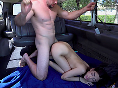 Quickie fucking in back of the van with irresistible chick Harmony