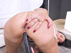 Cum loving slut Ania Kinski gets her ass fucked by a black dude