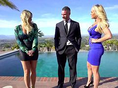 Busty friends Brandi Love and Olivia Austin have a FFM threesome