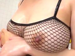 Busty Asian chick Mashiro An gives a footjob and gets fucked