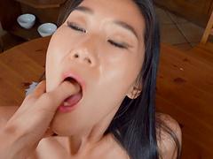 Pretty Asian room-mate Katana gets fucked good and earns a facial