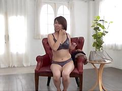 Shy Japanese girl Amamiya Yoshiko drops her clothes to tease