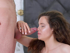 Shaved room-mate Mickey Moor moans while getting fucked good