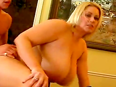 Blonde BBW with Titanic Boobs Gives Dude a Fabulous Titjob and Ride