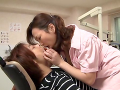 Wild fucking in the dentist office with a busty Japanese chick